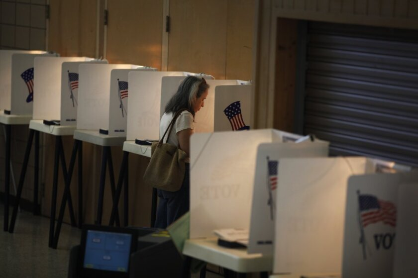 A lone voter fills out her ballot at a Whittier polling station on California's primary election day last June.