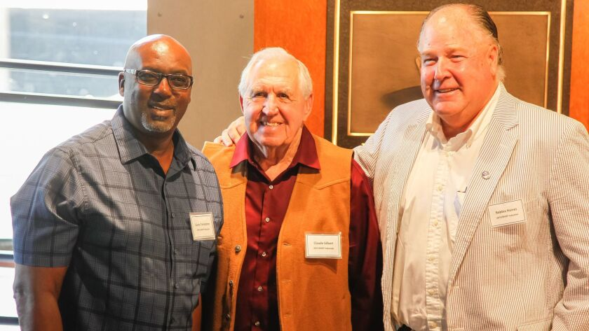 Sailing great Robbie Haines (right) will be inducted into the Breitbard Hall of Fame this month along with Garry Templeton (left) and Claude Gilbert.