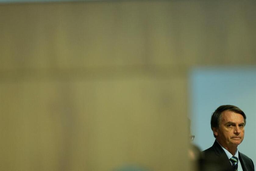 El presidente de Brasil Jair Bolsonao habla en un evento. EFE/Archivo