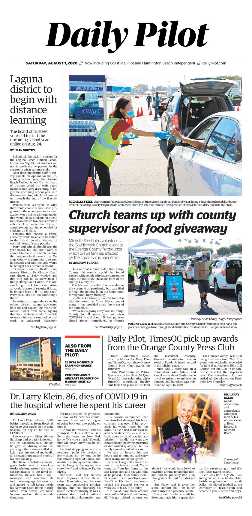 Saturday's Daily Pilot cover.