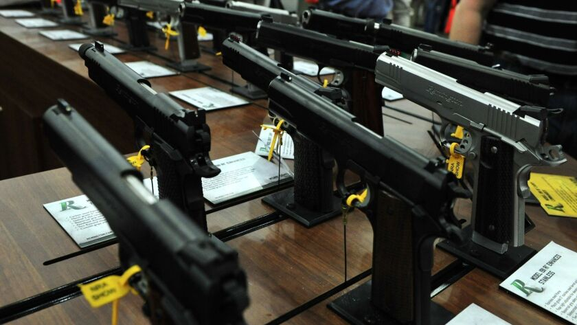 Semi-automatic pistols seen during the 2013 annual National Rifle Association convention in Houston