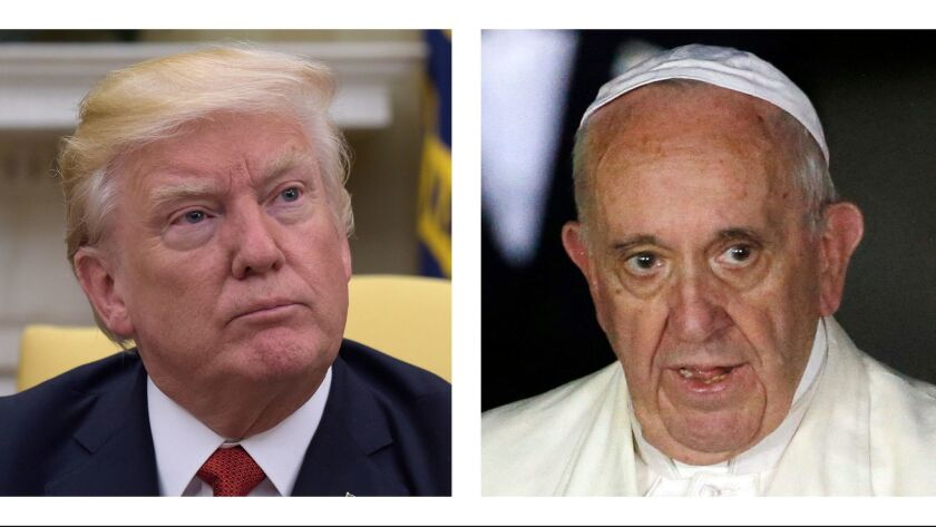 FILE - In this combo of file photos, President Donald Trump and Pope Francis. They are stylistic and