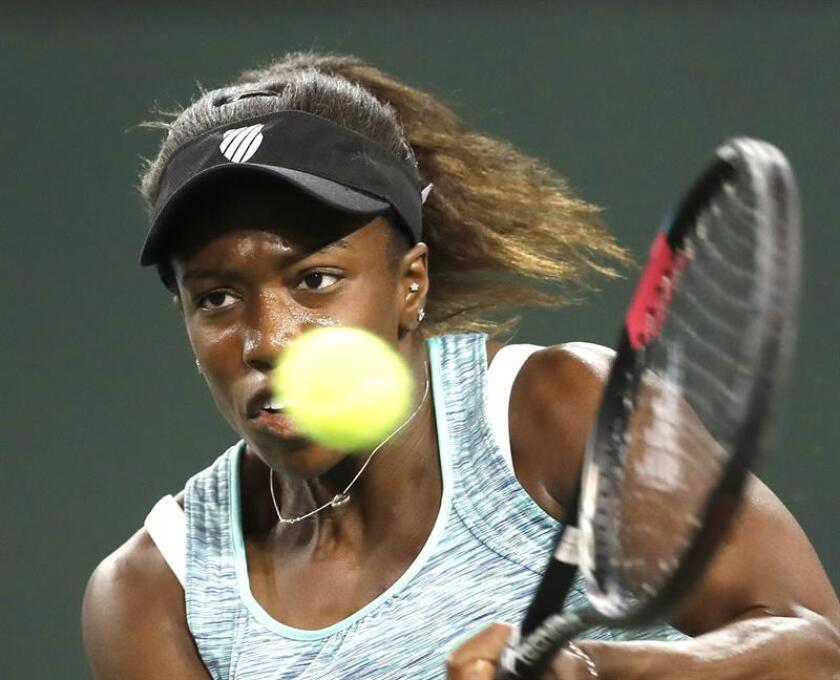 Sachia Vickery of the USA in action against Garbine Muguruza of Spain during the BNP Paribas Open at the Indian Wells Tennis Garden in Indian Wells, California, USA, 09 March 2018. EFE