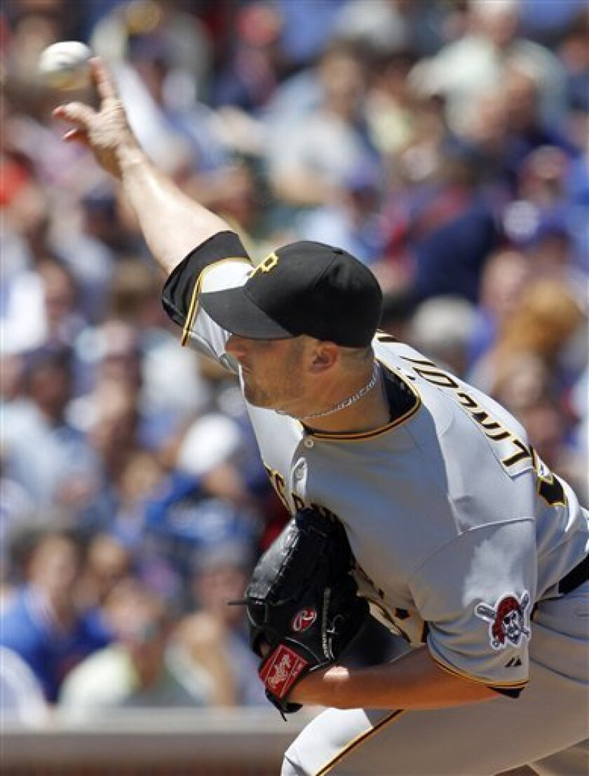 Pittsburgh Pirates starting pitcher Brad Lincoln throws in the second inning during a baseball game against the Chicago Cubs, Wednesday, June 30, 2010, in Chicago. (AP Photo/John Smierciak)