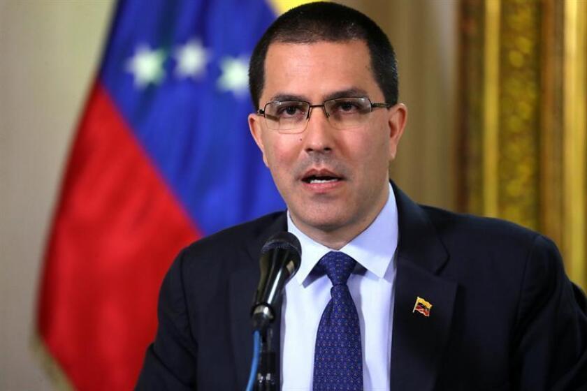 El ministro venezolano de Exteriores, Jorge Arreaza, ofrece una rueda de prensa. EFE/Archivo