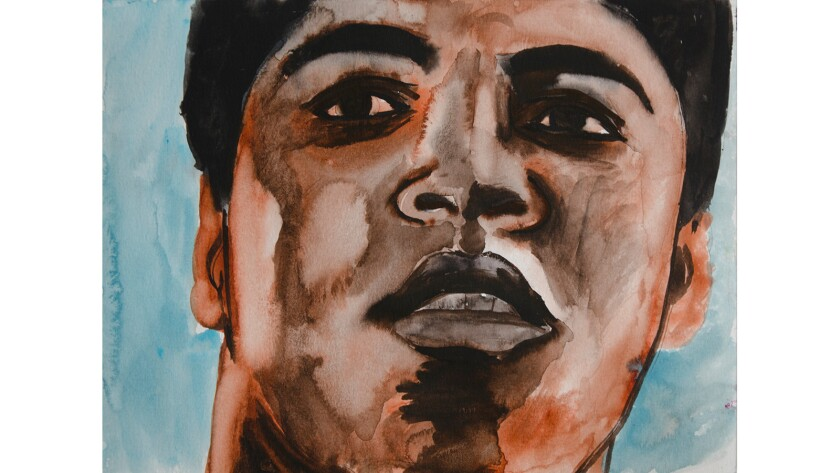 """Ali,"" 2016, a watercolor by Salomón Huerta, is at the Christopher Grimes Gallery."