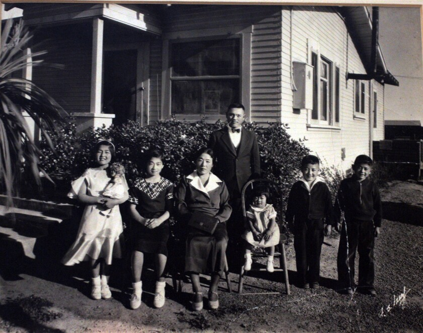 The Oyama family at their house at their Chula Vista farm which was taken from them by the government.
