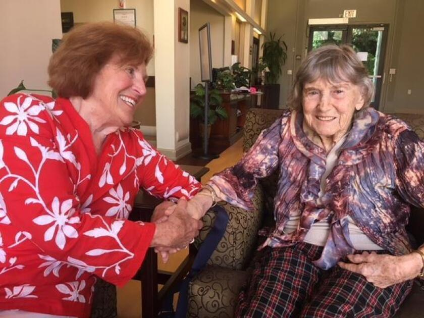 La Jolla Friendly Visitors volunteer Suzie Pirtle with her pal, senior Maureen Stirling