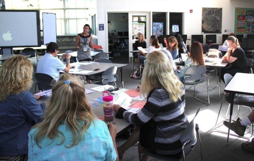 Mitzi Merino explains the budget review procedure to members of La Jolla Cluster Association, April 22.