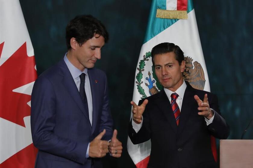 El presidente mexicano, Enrique Peña Nieto, conversó hoy vía telefónica con el primer ministro canadiense, Justin Trudeau, sobre el proceso de firma del Tratado Amplio y Progresista de Asociación Transpacífico (CPTPP, por sus siglas en inglés) y la relación bilateral. EFE/ARCHIVO