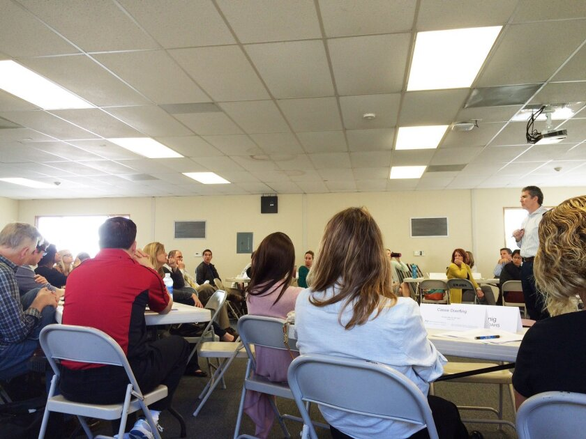 The San Dieguito Union School District's enrollment study group at work on Feb. 17.