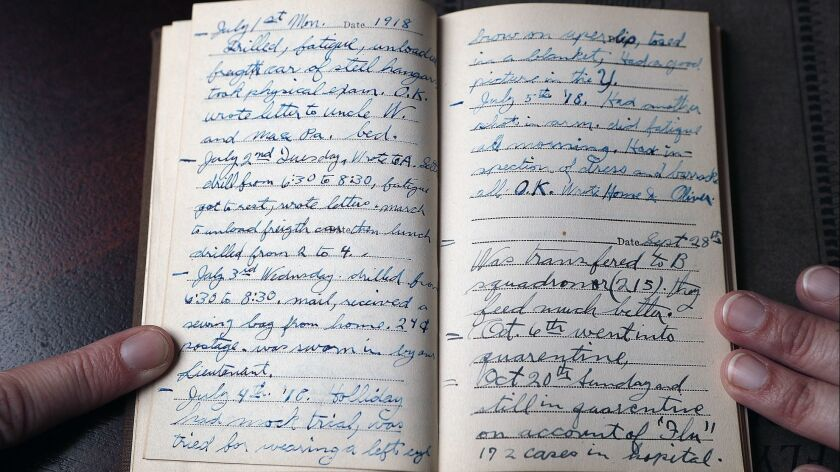 A diary entry starting July 1, 1918 from Lloyd Lanterman, at Lanterman House in La Canada Flintridge
