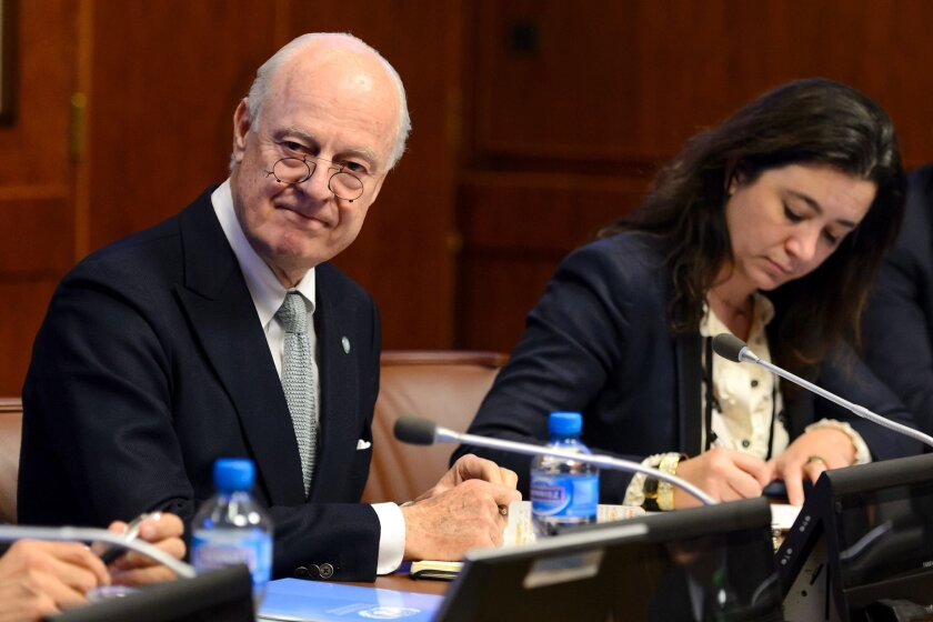 United Nations Syria envoy Staffan de Mistura, left, attends a meeting with ambassadors from the five permanent members of the U.N .Security Council in Geneva.
