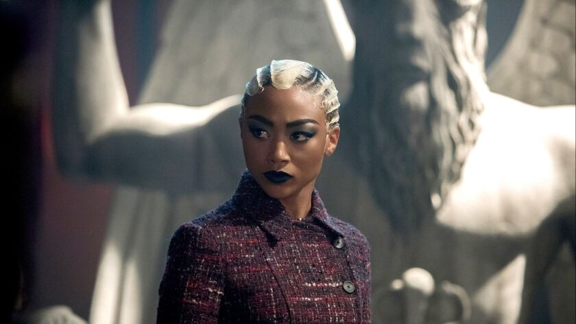 "Tati Gabrielle in a scene from the Netflix show ""Chilling Adventures of Sabrina."""