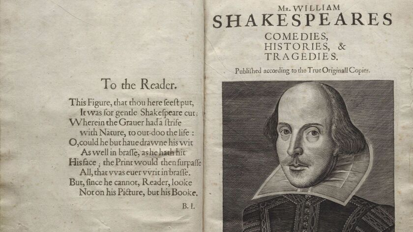 First Folio title page with engraving of Shakespeare.