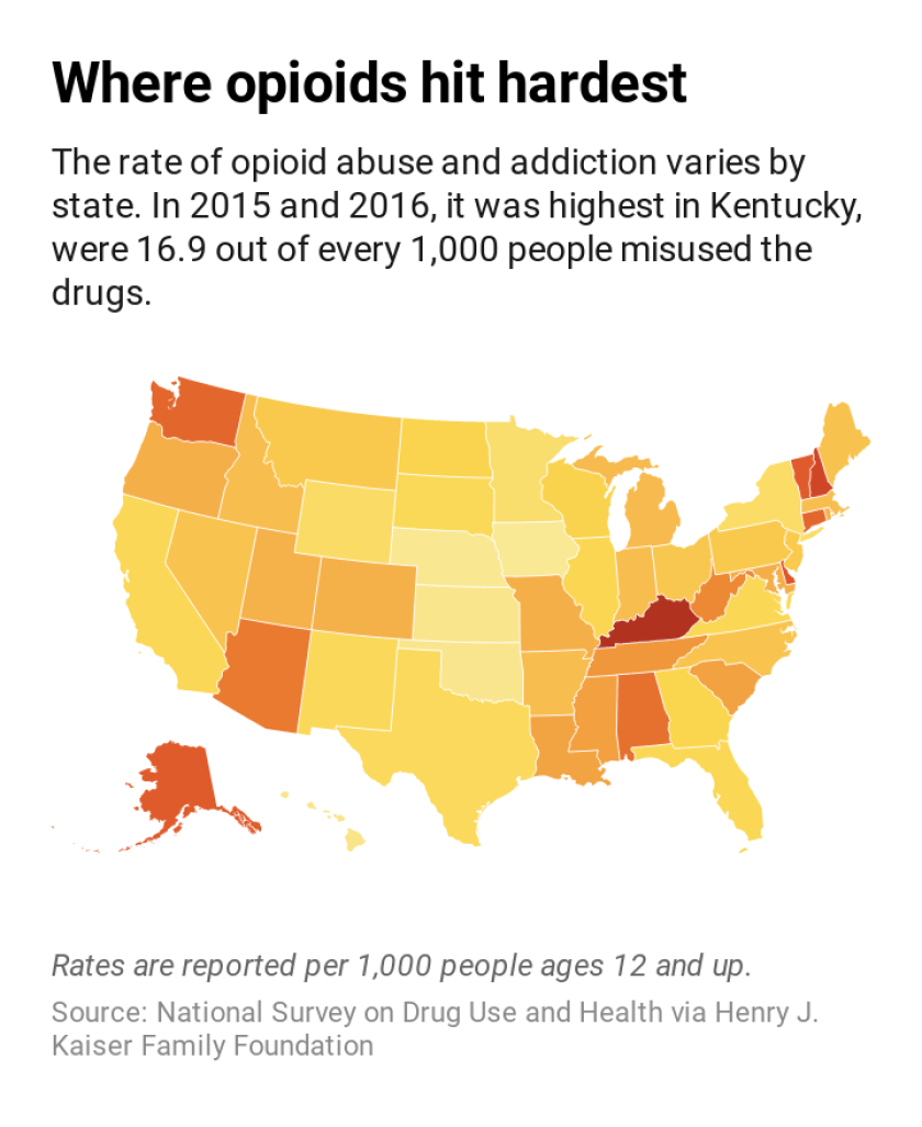 U.S. map showing opioid addiction rates by state