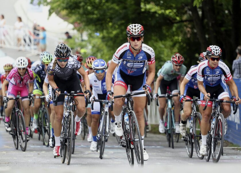 Allie Dragoo climbs Kent Street during the women's road national championship Monday May 25, 2015, in Chattanooga, Tenn. (Dan Henry/Chattanooga Times Free Press via AP)