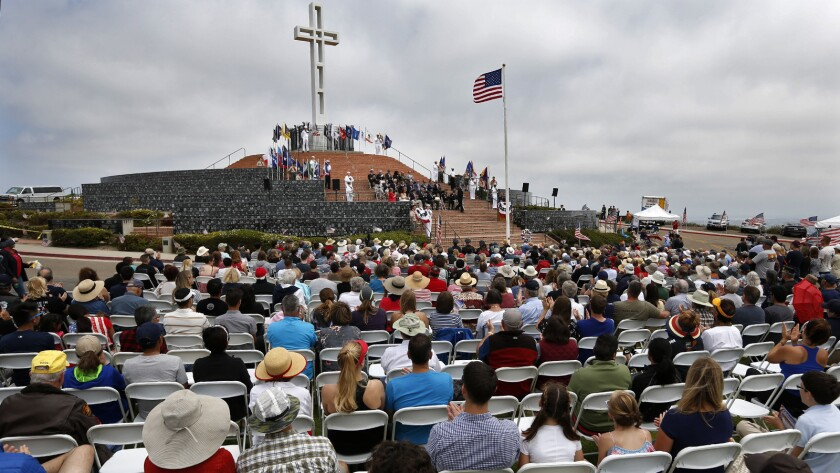 Hundreds of people attended the Memorial Day Ceremony at the Mt. Soledad National Veterans Memorial in 2018. This year's event is online-only and not open to the public.