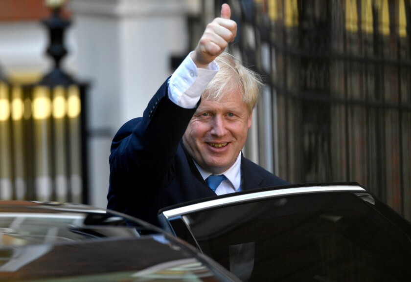 Boris Johnson is declared leader of Britain's Conservative Party on July 23, 2019.