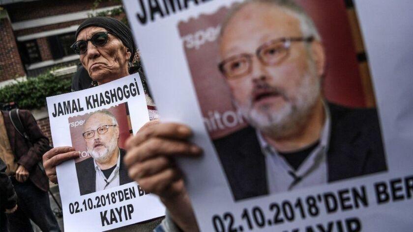 Protestors outside the Saudi Arabia Consulate in Turkey where journalist Jamal Khasoggi was killed in 2018.