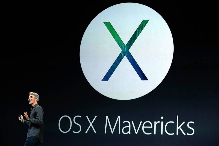 OS X Mavericks offers users a fresh, new look along with potentially longer battery life. Above, Apple executive Craig Federighi at an event in San Francisco.