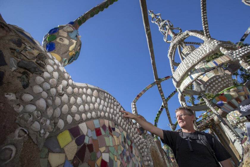 Bruno Pernet, a marine biologist at Cal State Long Beach, has identified 34 species of shells among the decorations of the Watts Towers.