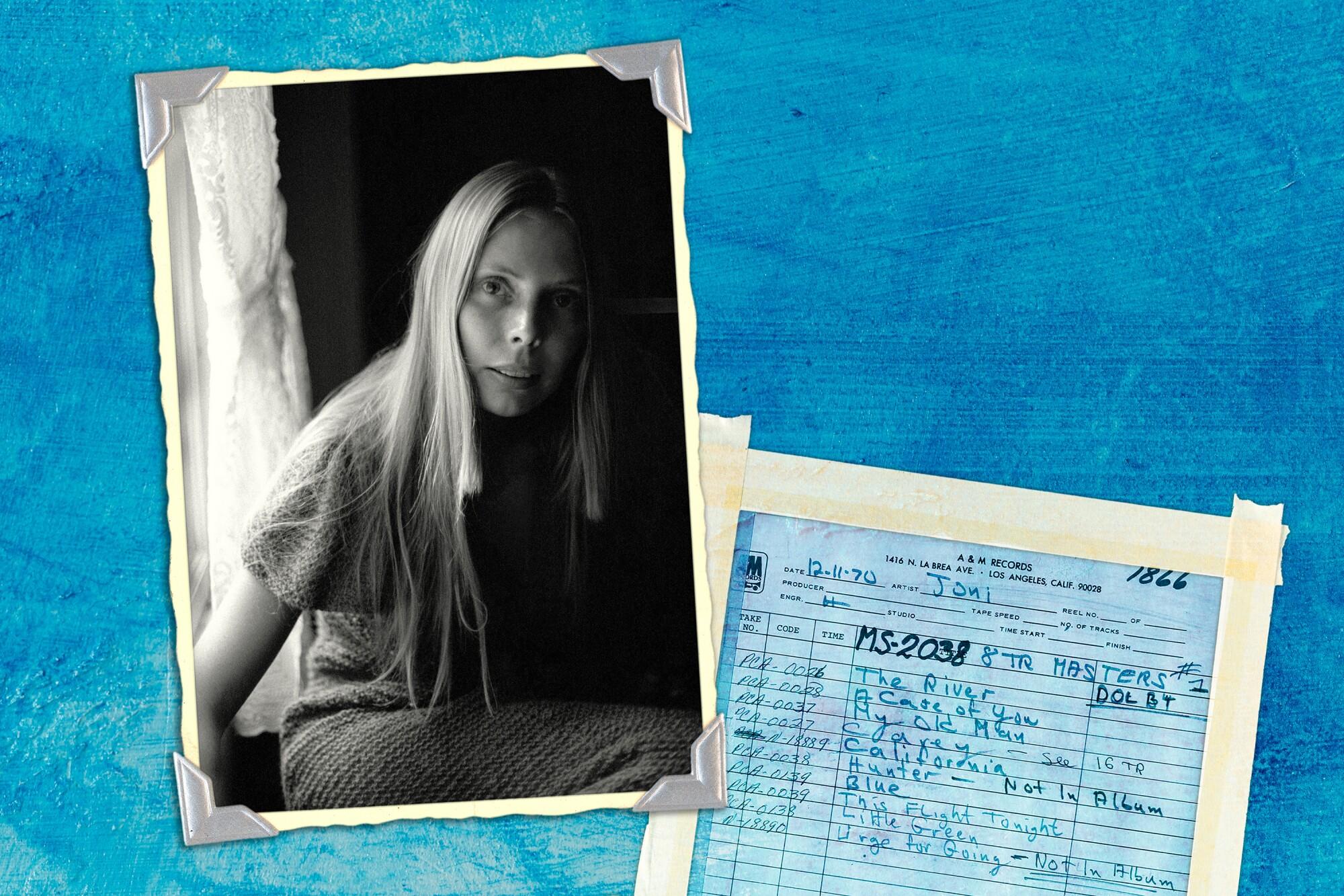 Photo illustration of Joni Mitchell on a blue background