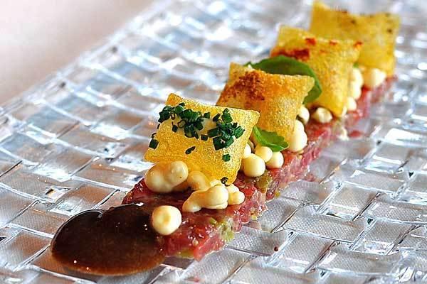 Steak tartar with mustard ice cream at El Celler De Can Roca.
