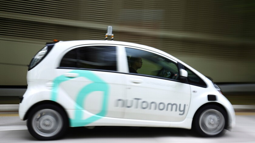An autonomous vehicle on a test drive Wednesday in Singapore.