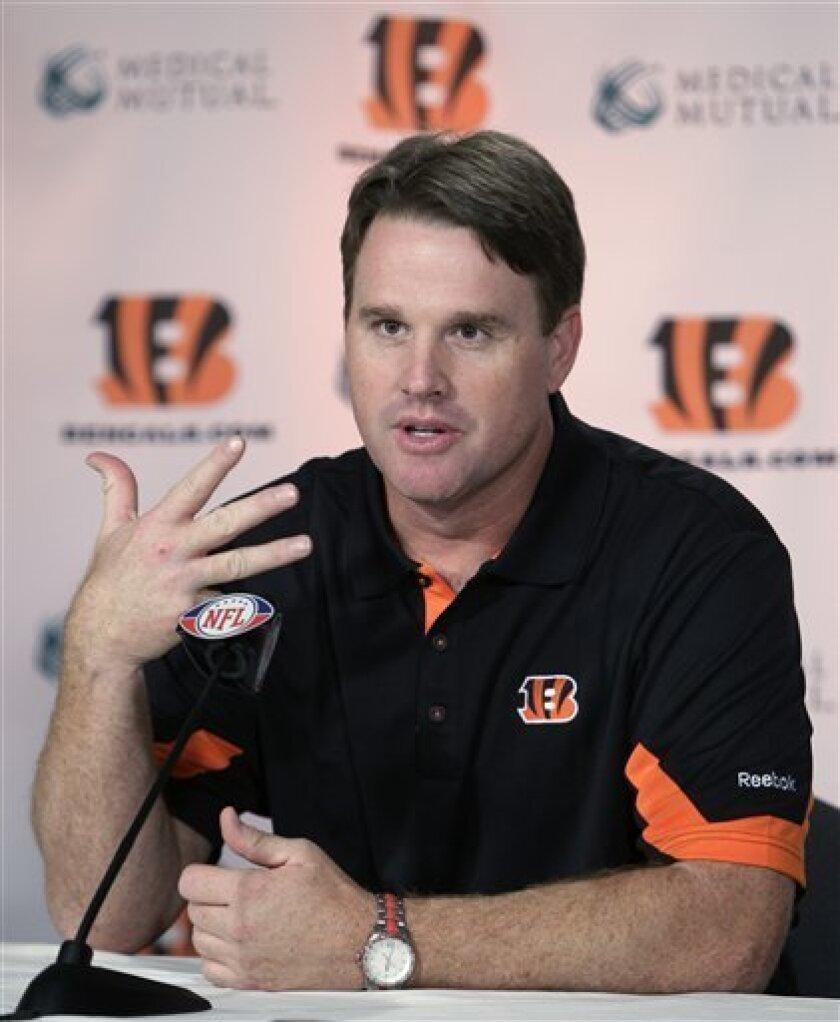 Cincinnati Bengals offensive coordinator Jay Gruden speaks at a news conference Monday, Feb. 7, 2011, in Cincinnati. (AP Photo/Al Behrman)