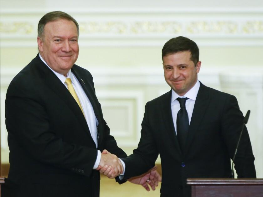 Secretary of State Mike Pompeo and Ukraine President Volodymyr Zelensky