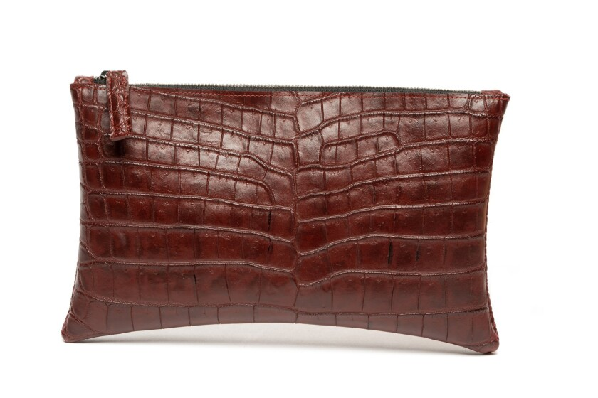 Rivers Eight alligator-belly clutch