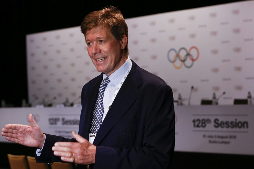 """FILE- In this July 30, 2015 file photo, Richard Budgett, the IOC medical director, speaks to the Associated Press during an interview in Kuala Lumpur, Malaysia. Seeking to calm fears over the Zika outbreak, the IOC medical director told The Associated Press on Thursday Feb. 11, 2016 that """"everythin"""