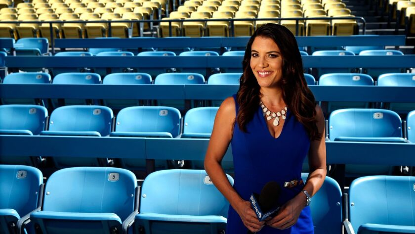 Dodgers broadcaster Alanna Rizzo is shown at Dodger Stadium on Sept. 8, 2017.