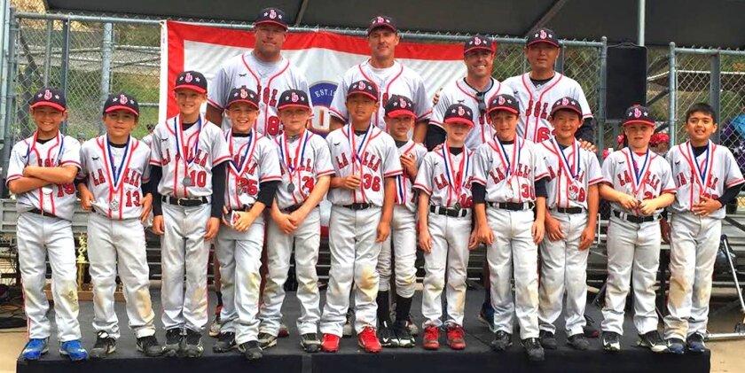 La Jolla Youth Baseball's Pinto Red (8U) runner-up team with coaches Greg Hansen, Matt Landa, Mac Armstrong and Michael Tu