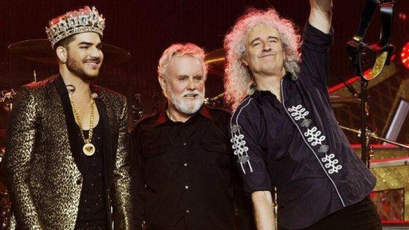 """Adam Lambert, Roger Taylor and Brian May are embarking on a 25-city Queen + Adam Lambert tour this summer. Lambert grew up in San Diego and became a star on """"American Idol."""" (Photo by Xavier Vila)"""
