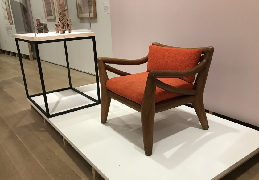 "An installation view of Clara Porset's ""Totonac Chair"" at the Art Institute of Chicago"