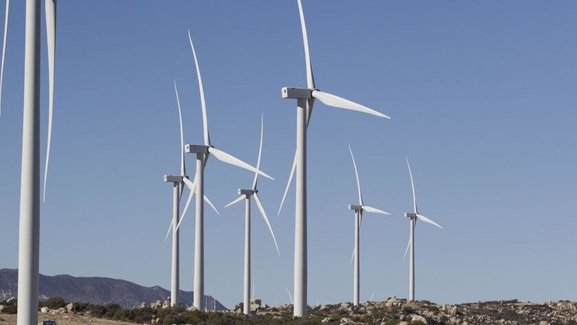The Tule Wind Farm in McCain Valley is home to 57 wind turbines, each 262 feet tall with blades attached to each rotor with a diameter of 351 feet.