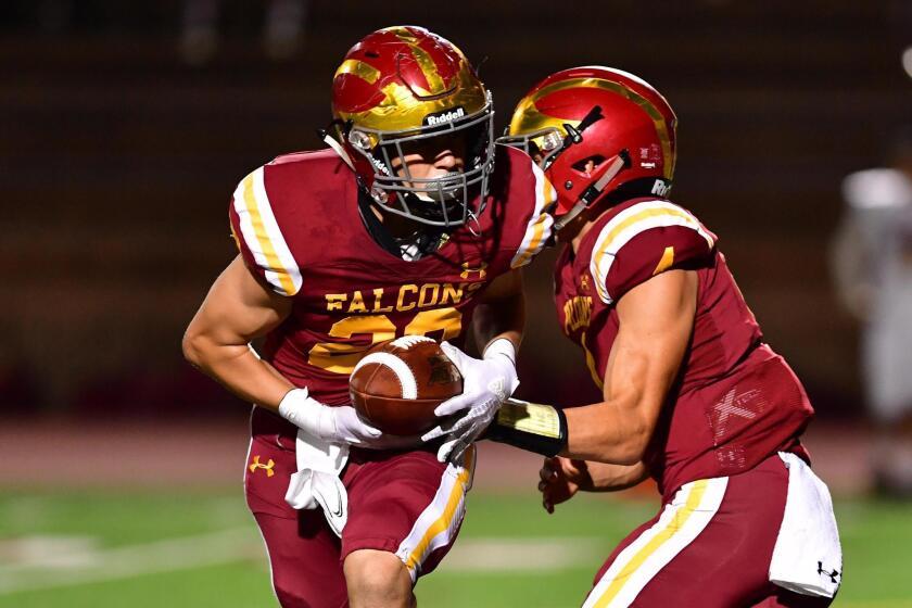 Sophomore Marco Notarainni takes a hand-off from quarterback Jason Heine.