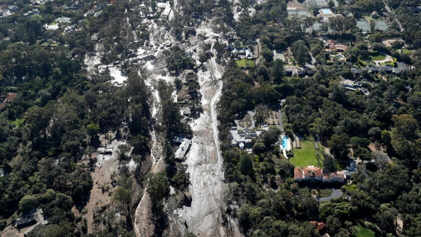 MONTECITO, CA-JANUARY 10, 2018: Overall, shows shows mud and debris surrounding homes in Montecito