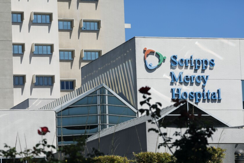A view of Scripps Memorial Hospital in Hillcrest on Monday, May 3, 2021.
