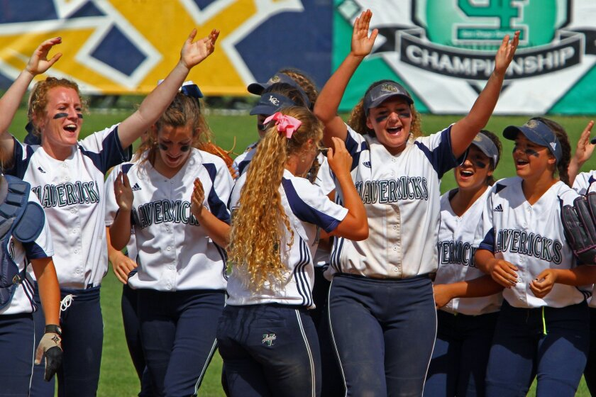 La Costa Canyon players, including senior Samantha Smith (at right with arms raised), cheer their win over Granite Hills for the section Division II championship at UC San Diego on Saturday.