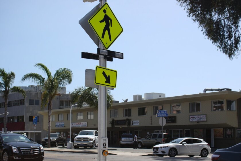 A pedestrian-activated blinking indicator light was in installed in mid-August.