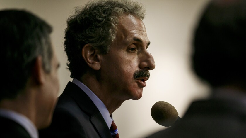 LOS ANGELES, CALIF. -- THURSDAY, MAY 3, 2018: City Attorney Mike Feuer announces a civil lawsuit aga
