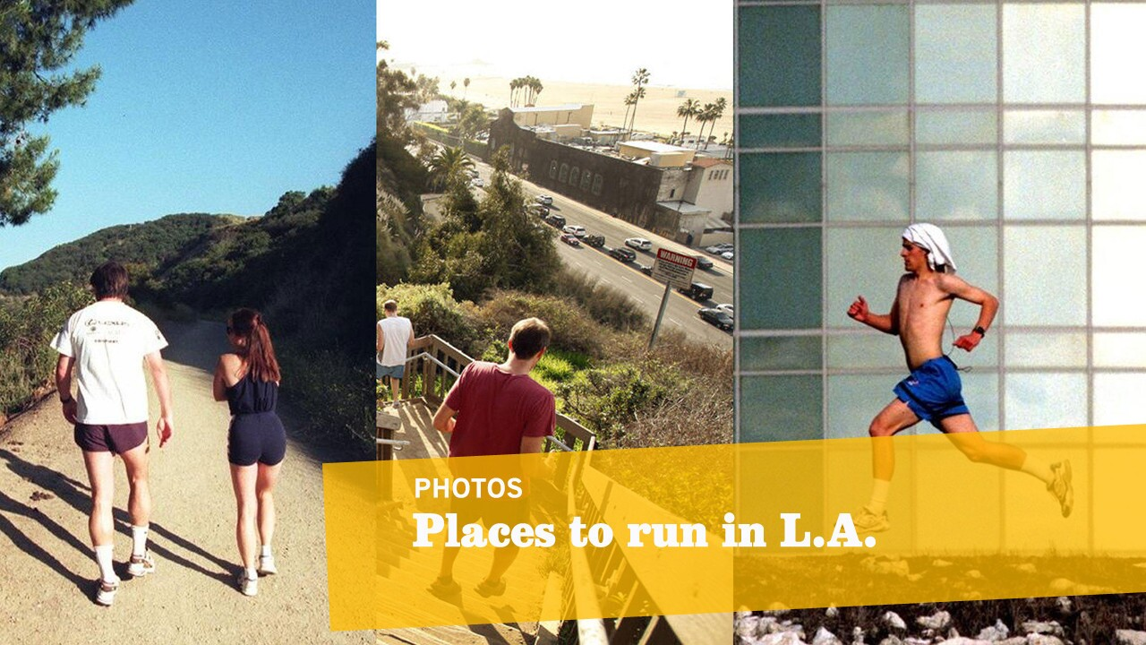There's no need for an expensive gym membership. With an average of 266 days of sunshine a year, L.A.'s spectacular weather nearly begs you to ditch the treadmill for the beach, hiking trail or park. And many are right in our backyards -- or at least only a short drive away. We've collected 13 of our favorite places to run in L.A., from scenic ocean-side paths in Santa Monica and Venice to more rigorous inclines in Griffith Park and Rustic Canyon. -- Kelsey Ramos, Los Angeles Times