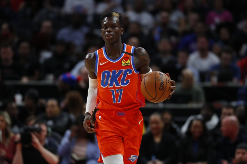 Thunder guard Dennis Schröder brings the ball up court against the Pistons during a game March 4 in Detroit.