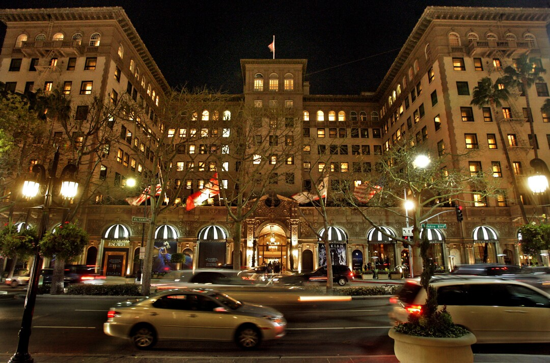 The Beverly Wilshire Hotel at night.