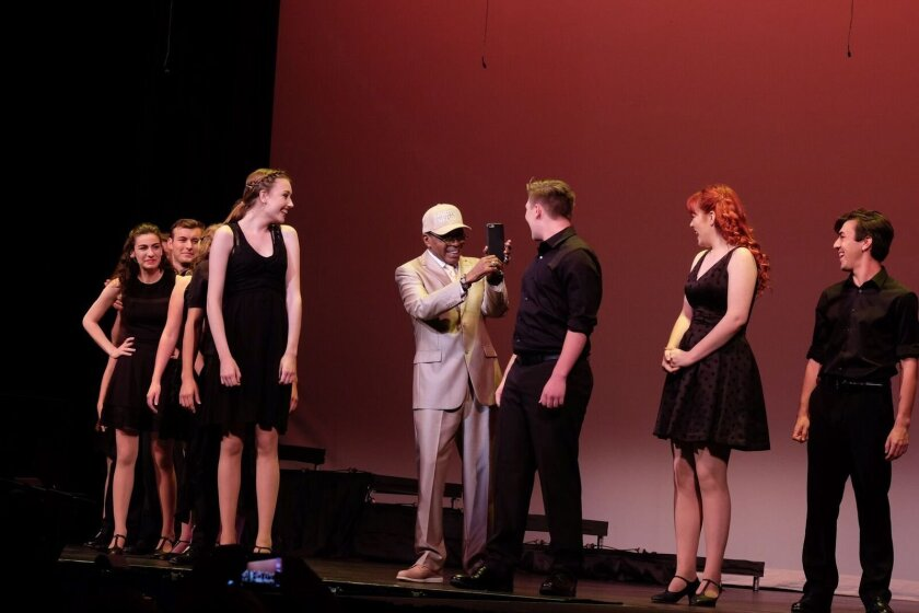 Ben Vereen (center) with finalists onstage at the Balboa Theatre.