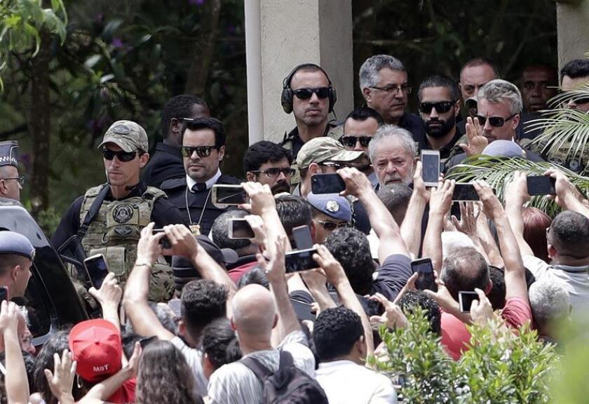 Brazilian former President Luiz Inacio Lula da Silva is seen after attending the funeral of his 7-year-old grandson at a cemetery outside Sao Paulo. EPA-EFE/ Fernando Bizerra