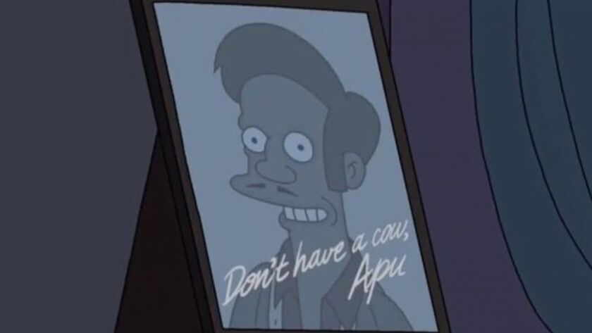 "Apu in ""The Simpsons"" episode ""No Good Read Goes Unpunished,"" which aired Sunday."
